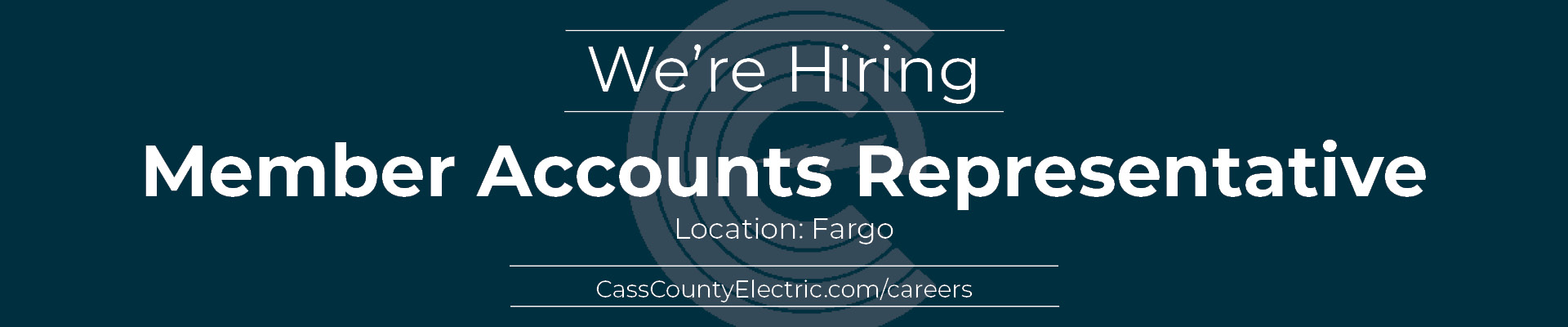 Now hiring member accounts representative